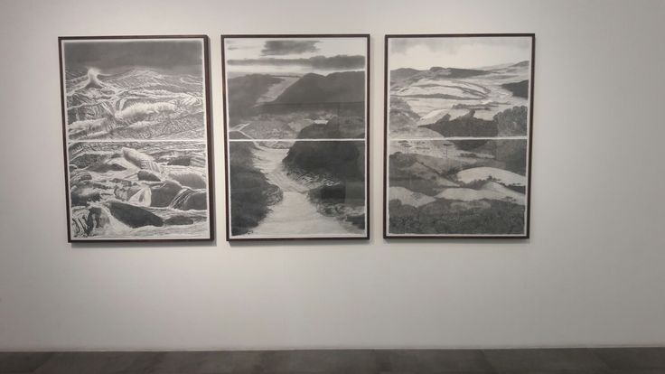 "francisco faria - ""fluxo""(flow), triptych, graphite on paper, 140×300cm, 2016."