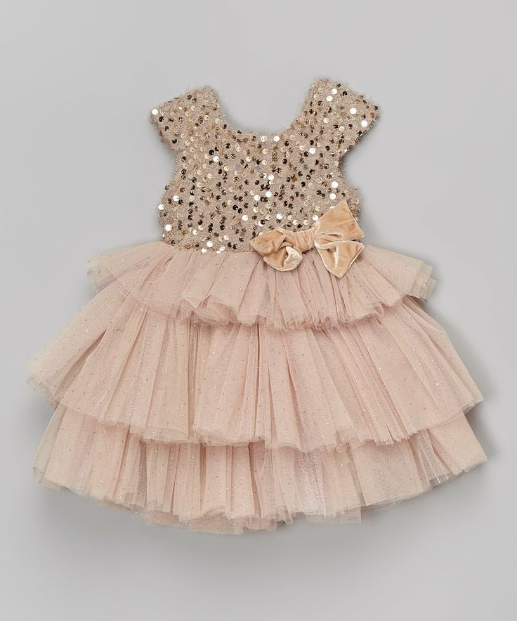 Look at this #zulilyfind! Beige Sequin Tiered Dress - Infant, Toddler & Girls by Little Mass #zulilyfinds