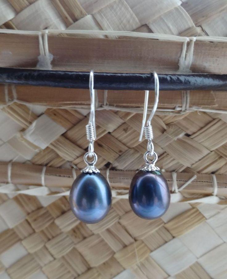 ORECCHINI Vere Perle Nere 7-8 mm circa. Argento 925%