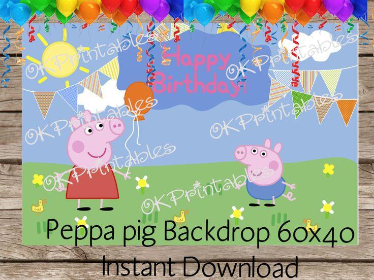 Peppa pig Birthday / Peppa Pig Backdrop / Peppa pig Banner /| Happy Birthday Backdrop / Peppa Pig Inspired Party Backdrop by OKprintables on Etsy