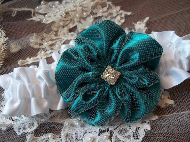 Jade Green and White Wedding Garters, Bridal Garter. $32.00, via Etsy.