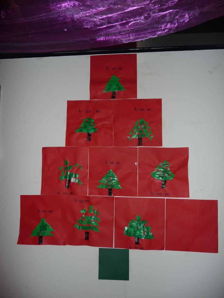 Map juf Ineke: kerstbomen plakken en ophangen in de vorm van een kerstboom.