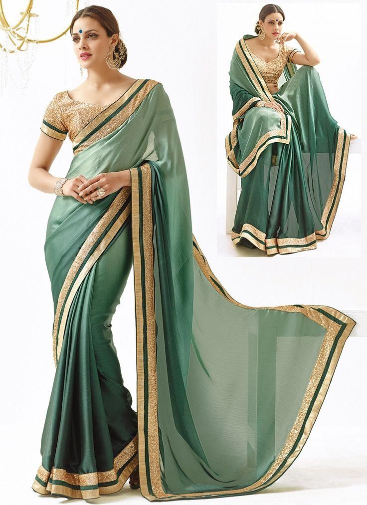 Sari Design Sea Vert Enamour mer Pure Vert en mousseline de soie - Avena sari