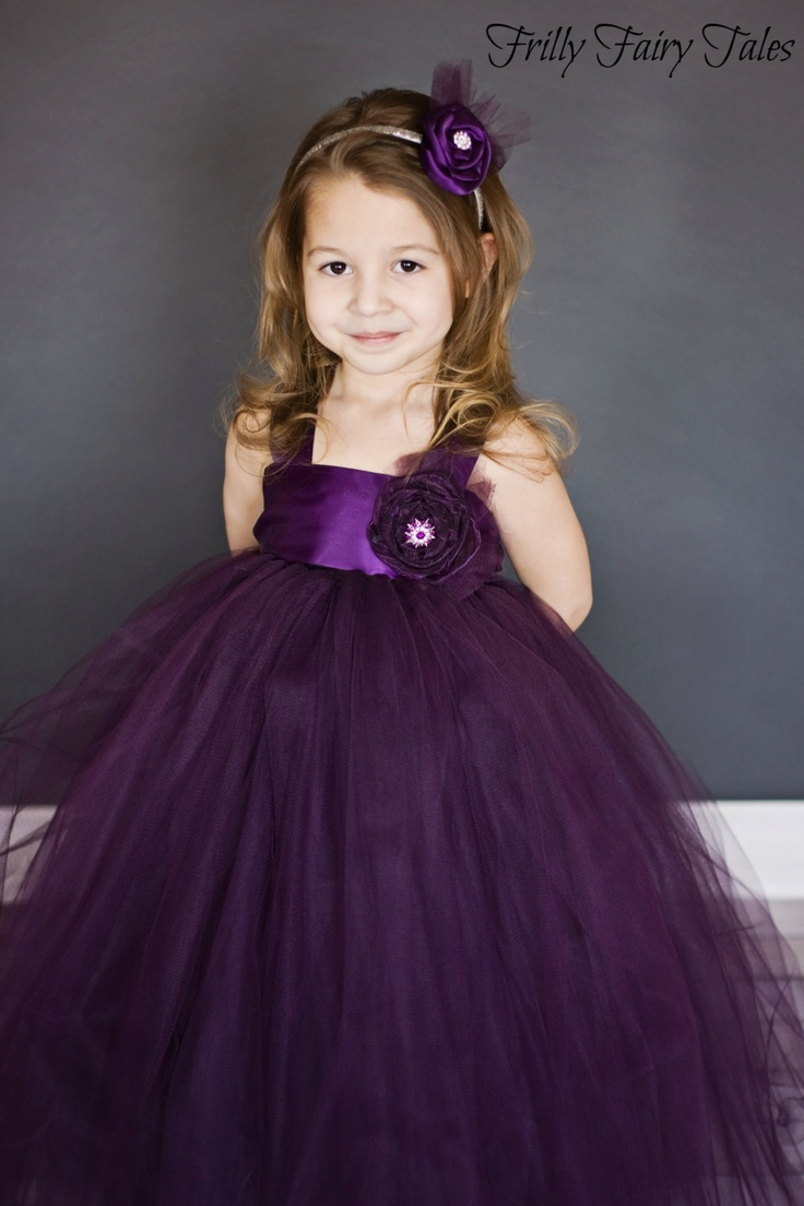 Plum Eggplant Flower Girl Tulle Dress Tutu Dress Plum