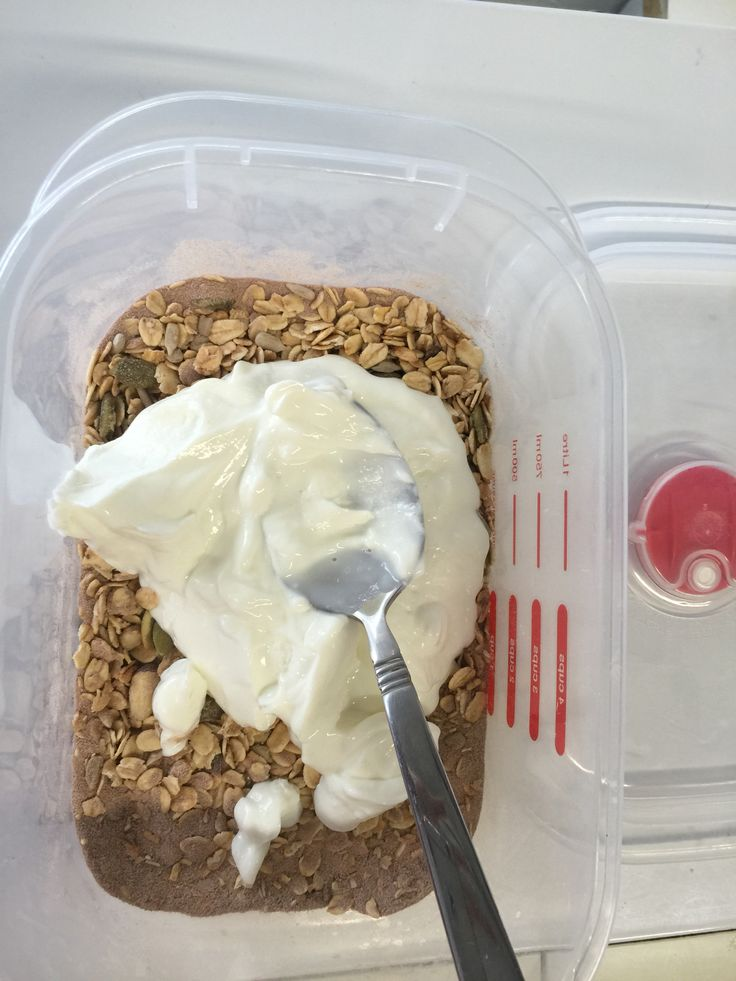 Try this out  2-3 scoops of plain chobani Handful of thank you plain muesli Half a scoop of protein powder