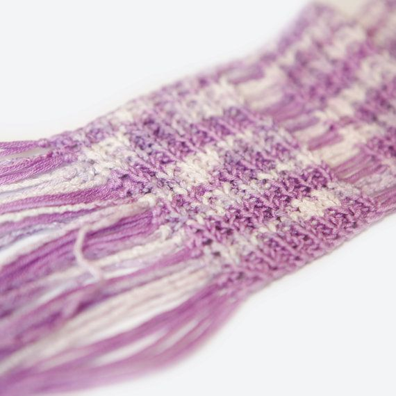 Summer knitted Scarf. Spring Pink melange scarf. The cotton. 15 cm x 200 cm