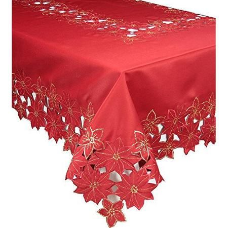 Xia Home Fashions Festive Poinsettia Embroidered Cutwork Holiday Tablecloth - Walmart.com