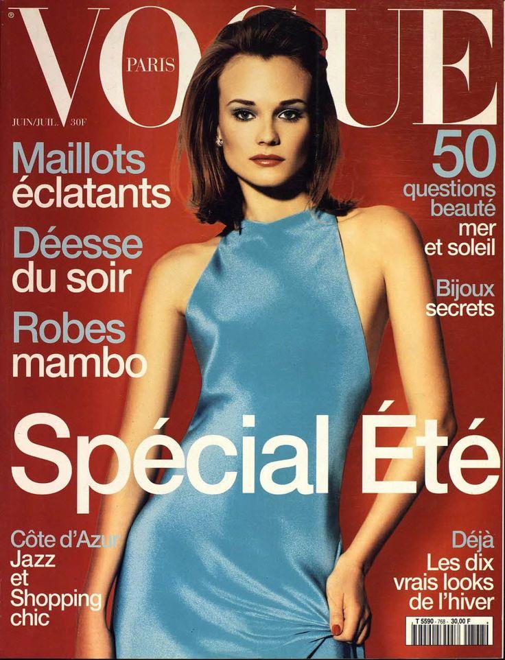 La couverture vintage de la semaine:Diane Heidkrueger photographiée par Raymond Meier pour le numéro de juin/juillet 1996 de Vogue Paris. //...