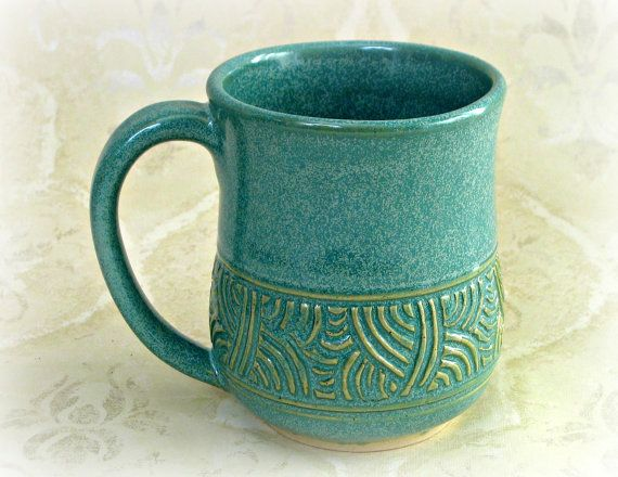 "possible image/example of 'bread&butter' output from my heroine Julie's pottery barn. Click Site above for more: ""Hand Carved Aqua Mug by MudsEvolutionPottery:"