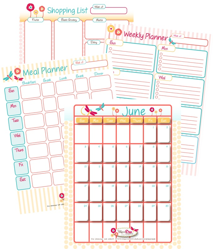My Calendar Planner : Home management printables for the month includes june