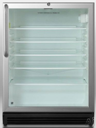 """Summit SCR600BLBIADAX 24"""" Undercounter Beverage Center with 5.5 cu. ft. Capacity, Glass Shelves, Interior Light, Door Lock, ADA Compliant and Commercially Approved"""