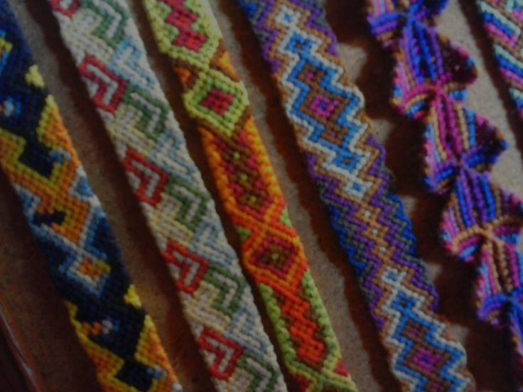 a few friendship bracelets I made a couple of years ago! I really like the triangular one<3