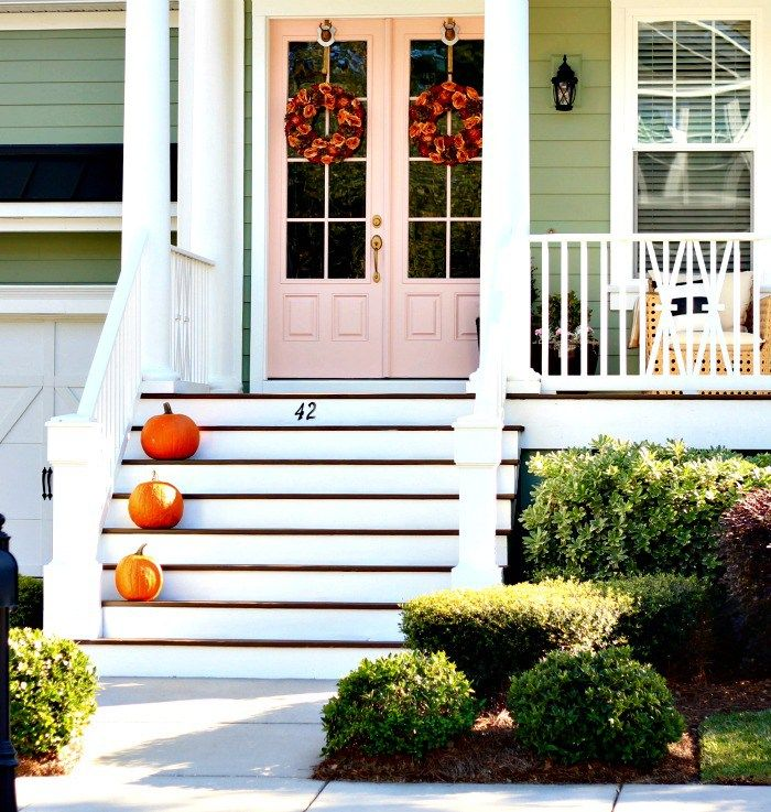 Rachel Pink by Sherwin Williams on the front door: I've long adored a pink front door, so I decided now that we're living in Charleston, the land of colorful front doors, to make like Nike and just do it.  There are a lot of different shades of pink, like a whole lot.  I narrowed it down to two similar shades of pink, a softer shade called Rachel Pink and one that was a bit darker called Rosedust, both by Sherwin Williams.