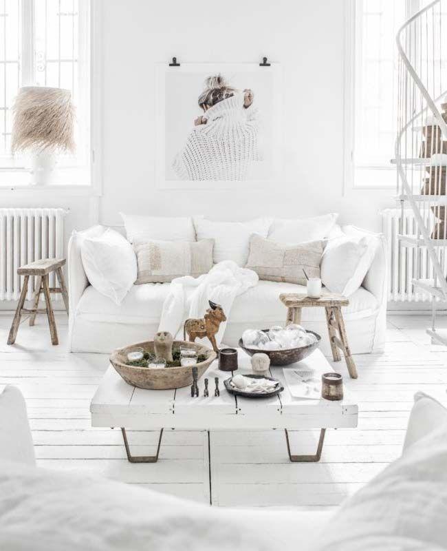 Un Salon Blanc A La Deco Boheme My Blog Deco En 2020 Deco Salon Salon Blanc Idees De Decor