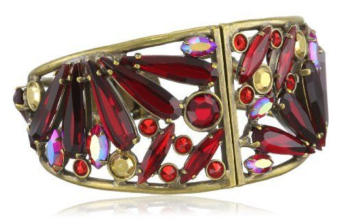 """Sorrelli """"Ruby Cocktail"""" Large Navette Red and Gold Cut Crystal Hinged Cuff Bracelet Sorrelli. $234.00. Made in China. Items that are handmade may vary in size, shape and color. Antique gold-tone metal bracelet with spring hinge and front closure"""