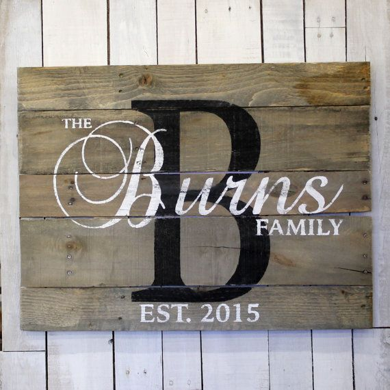 Personalized Family name sign. This reclaimed pallet wood sign would be great…