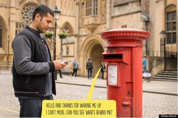 """PAN Studio's innovative talking post box.  Fitting objects in public spaces, such as post boxes, park benches and, (as the name suggests), lamp posts, with a special code people could text to receive a reply from the object itself. This reply would be a question, such as """"If you listen carefully, what's the quietest thing you can hear?"""" or """"What can you see behind me?""""  People's answers were recorded and then passed on to future users."""