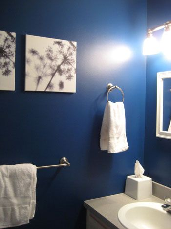 dark blue accent wall, everything else white in half bath: Wall Colors, Bathroom Colors, Blue Bathrooms, Blue Wall, Half Bath, Bathroom Wall, Dark Blue Bathroom, White Bathroom, Powder Rooms