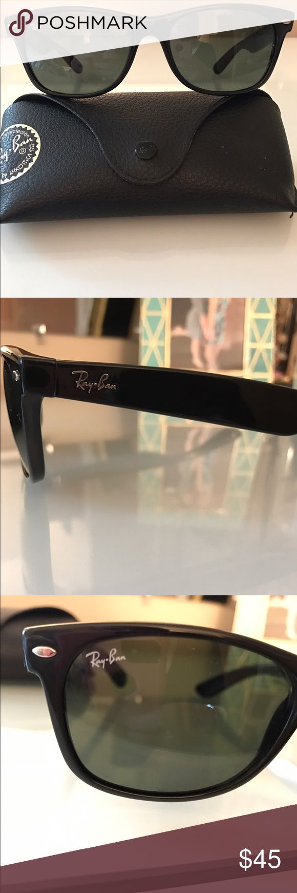 Authentic Black Ray Bans Wayfarer Sunglasses I have a pair of great black Ray Bans Wayfarer Sunglasses! These are in great condition and they make for the most classic Ray Bans look. They come with the case. Make me an offer! Ray-Ban Accessories Sunglasses