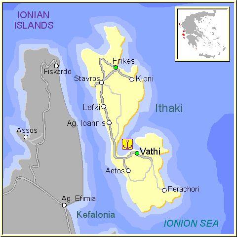 Mapa de la isla de Itaca, en las Islas Griegas Jónicas, Grecia.