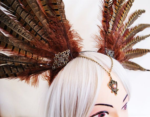 Amazon Feather Headdress Penthesilea Fantasy by BlackUnicornShop (etsy)