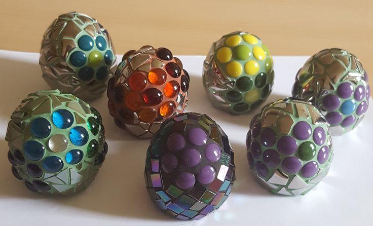 Eggs, cement+mosaic glass