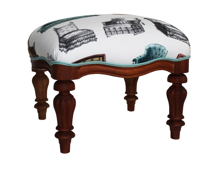 Vintage footstool in EDIT 'Chairs' fabric