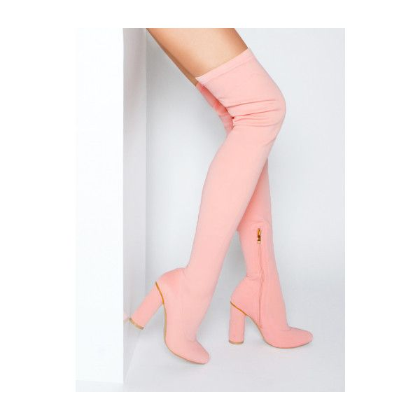 Riah Pink Neoprene Thigh High Boots : Simmi Shoes ($26) ❤ liked on Polyvore featuring shoes, boots, above knee boots, thigh boots, over-the-knee boots, pink thigh high boots and over-knee boots