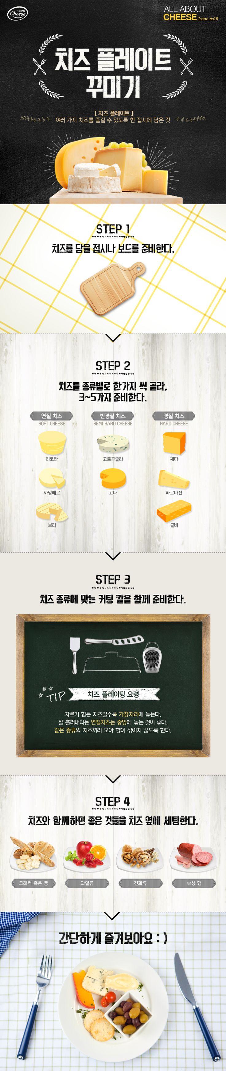 앞서 소개해드렸던 치즈 커팅 방법에 이어 올어바웃치즈, 이번 시간엔 치즈 플레이팅에 대해 알아볼까요? 플레이팅은 음식을 보기 좋게 하는 것도 있지만 더 풍미 있게 먹기 위해서라도 중요하답니다. 잘 놓인 치즈 하나, 열 치즈 안 부럽다고요~