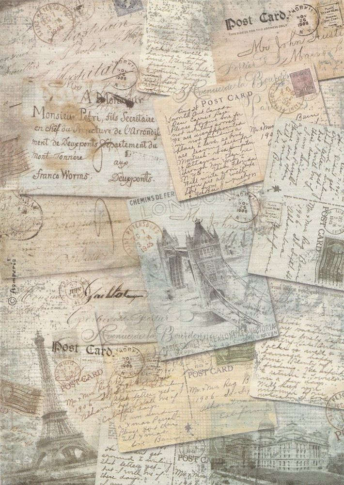 Rice Paper for Decoupage Decopatch Scrapbook Craft Sheet Vintage Old Post Cards