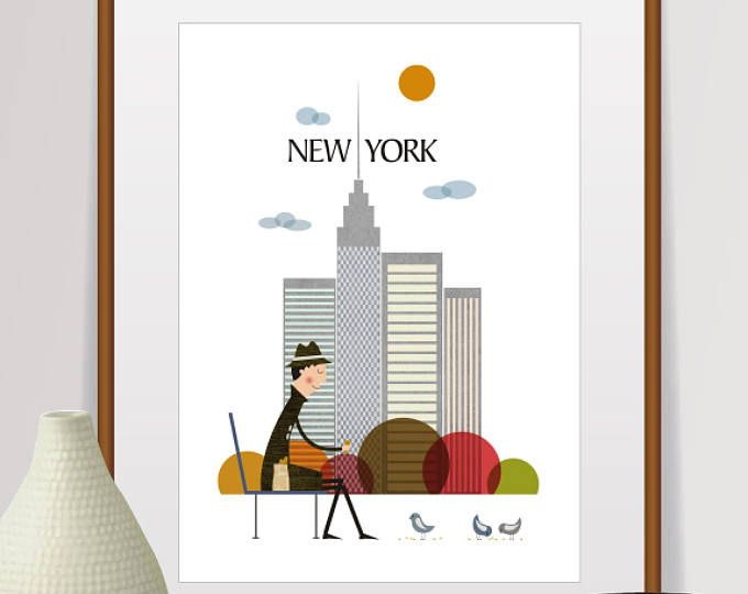 impression de New york, art mural new york, horizon de new york, affiche new york, new york, art de new york, ville de new york, ville impression, ville de new york imprimé