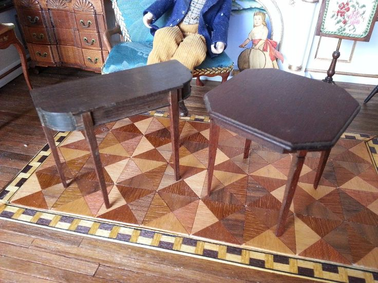 DOLLHOUSE MINIATURE LYNNFIELD BLOCKHOUSE SET OF 2 TABLES SCALE 1:12 | eBay