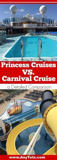 Princess VS Carnival: a detailed comparison of Princess Cruises versus Carnival Cruise. From cruise has better food, cruise with better room, cruise with better entertainment and activities, which cruise is newer and everything you can think of. Check our Carnival VS Princess cruise post on the blog, http://www.anytots.com. Other cruise tips included.