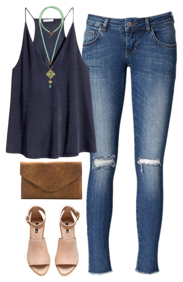 """"""":)))))"""" by thevirginiaprep ❤ liked on Polyvore featuring Anine Bing, H&M, Meckela and Patrice Jewelry"""