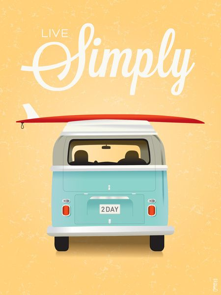 Live Simply - Surf VW Art Print by KreativKat
