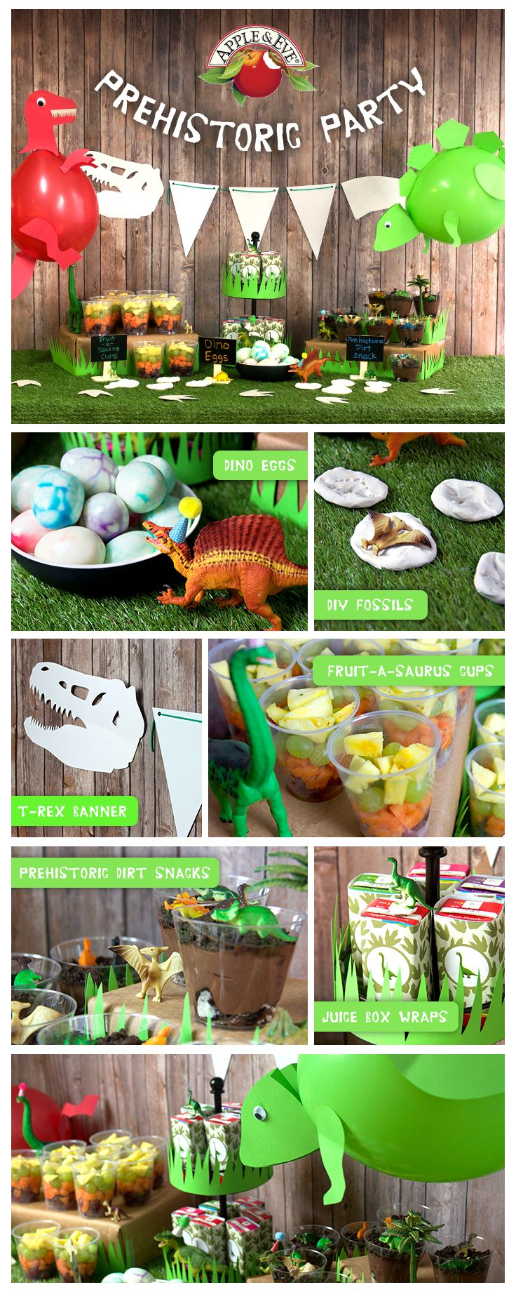 Throw a Prehistoric Dinosaur party for your kid's next bash. With dino egg snacks, T-rex decorations, and of course Apple & Eve juice, the event is sure to go down in history.