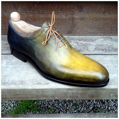 handmade wholecut green hand burnished mens oxford dress shoes