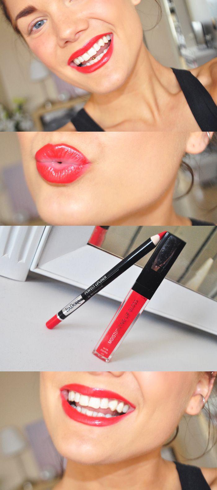 IsaDora Perfect Lipliner - 32 Mandarine +  Moisturizing Lip Gloss - 14 Coral Glow