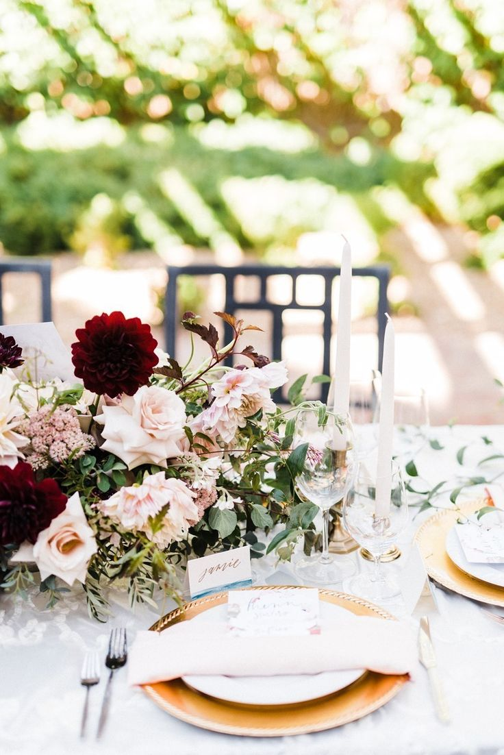 Burgundy & Blush Wedding Place Setting