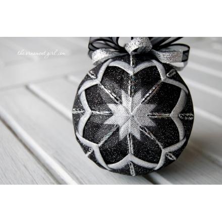black and silver Christmas ornament ball