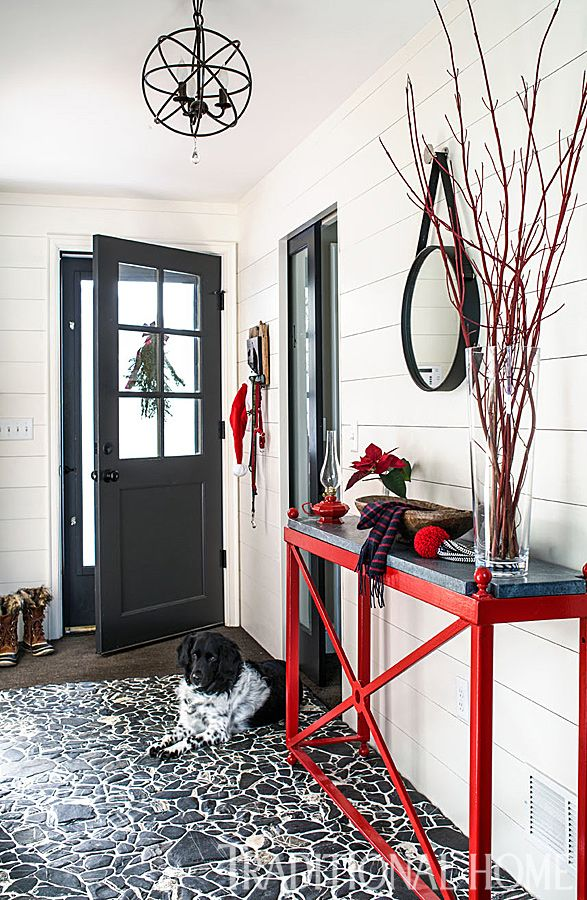 Stones used for the back entry floor were collected over the years from the Lake Champlain area by the homeowners and their friends. - Photo: John Bessler / Design: Kim Deetjen