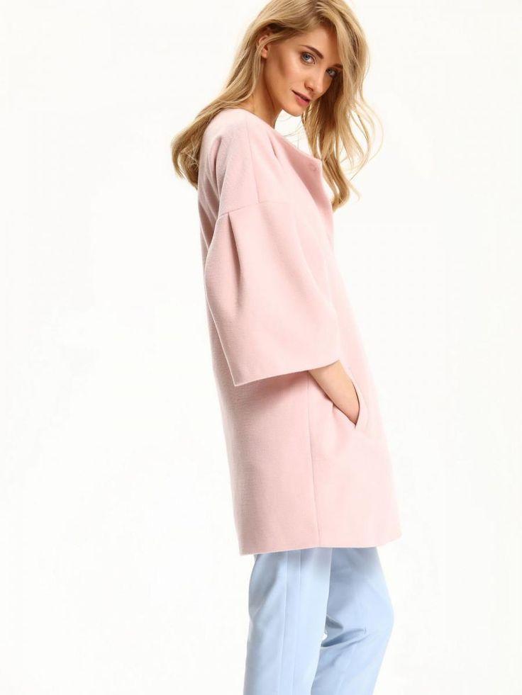 Top Secret Kabát dámský růžový na patenty 3/4 rukáv poslední kus Dámský kabát z kolekce TOP SECRET je vyroben z příjemného materiálu. Má elegantní střih s širokými 3/4 rukávy a kruhovým výstřihem. Zapínání má na …