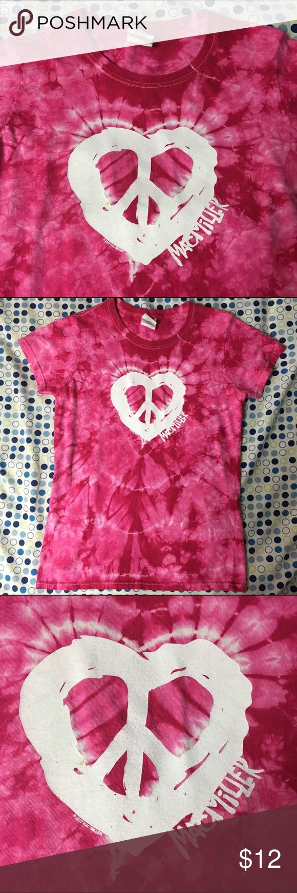 Mac Miller Concert Tee This Mac miller concert tee is in good condition. There is one small brownish stain on the heart that you can see in the third picture. I bought this at a Mac Miller concert in Indy. I love this tee shirt it's just to small for me now. Gildan Tops Tees - Short Sleeve
