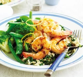 Lemon prawns with spinach rice | Healthy Food Guide