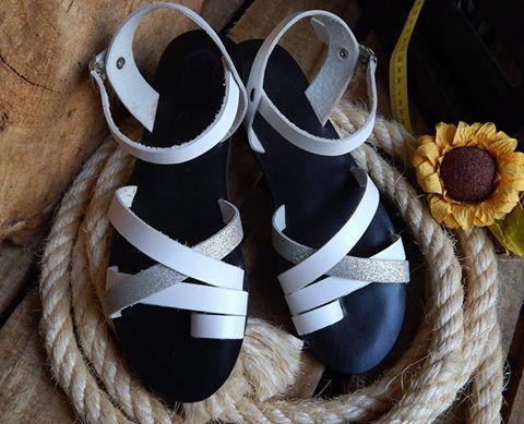 Handmade leather sandal IPHIGENIA .... black & white with selver glitter details .....