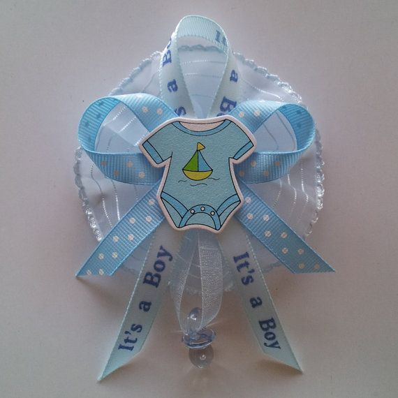 """20 piece set Baby Shower guest corsage with sailboat on onezie centerpiece by Fancy Little Favors.  """"Like"""" us on Facebook and check out our other creations."""