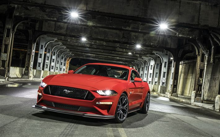 Download wallpapers Ford Mustang GT, 2018, Performance Package, Level 2, sports coupe, red Mustang GT, sports car, American cars, Ford
