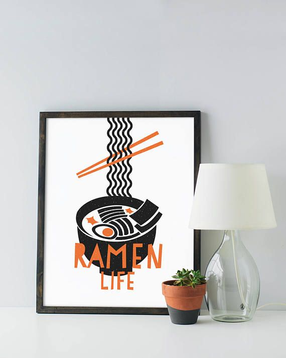 Ramen Noodle Print - Custom Colors - Noodles - Modern mid-century graphic black white minimal foodie soup pun funny poster art kitchen dorm Art & Collectibles Prints kitchen print modern kitchen black and white funny kitchen art ramen quote ramen poster ramen print ramen soup mid century kitchen minimal kitchen funny ramen art custom color kitchen noodles print japanese orange papercut look chopsticks noodles student foodie mid century modern graphic design asian
