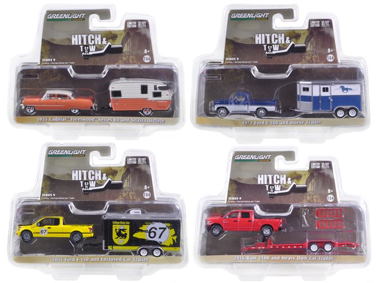 Hitch & Tow Series 9 Set of 4 1/64 Diecast Model Cars by Greenlight - Brand new 1:64 scale car model of Hitch & Tow Series 9 Set of 4 die cast car models by Greenlight. Limited Edition. Detailed Interior, Exterior. Metal Body. Comes in a blister pack. Officially Licensed Product. Dimensions Approximately L-7 Inches Long. SET INCLUDES:. 1955 Cadillac Fleetwood Series 60 Special and Shasta Airflyte. 1972 Ford F-100 and Horse Trailer. 2015 Ford F-150 and Terlingua Racing Enclosed Car Trailer…