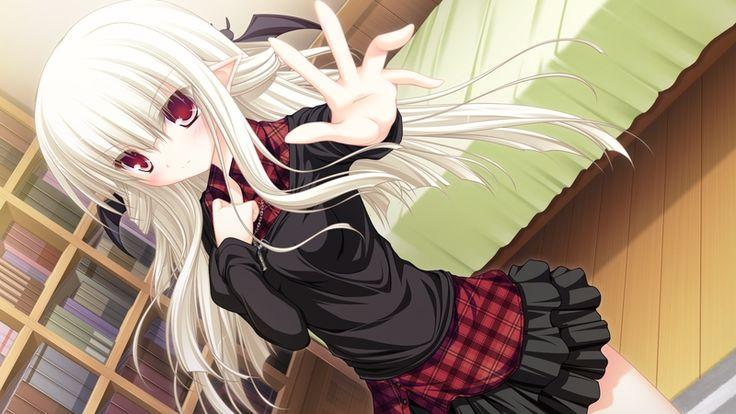 anime demon girl with white hair